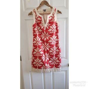 Ann Taylor Damask Floral Shift Dress sz 0